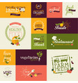 set organic flat design signs vector image