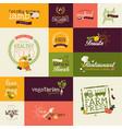 set organic flat design signs vector image vector image