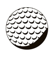 silhouette monochrome with golf ball vector image