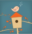 Simple card of funny cartoon bird on branch vector image vector image