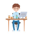 smiling employee working with computer coffee cup vector image