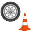Traffic cone and car wheel vector image