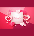 valentines day paper cut pink heart greeting card vector image vector image