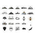 vintage camping icons and adventure symbols vector image vector image