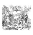 vintage drawing biblical adam and eve and vector image