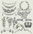 Vintage floral wood print decorative elements vector image vector image