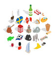 western europe icons set isometric style vector image vector image