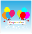 Congratulations sign has balloons and brids vector image