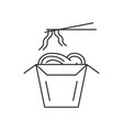 noodles in thin line box with chopsticks vector image
