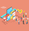 3d isometric flat concept mobile vector image