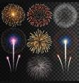 big set isolated fireworks on transparen vector image vector image