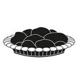 black and white pastry plate silhouette vector image
