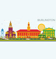 burlington skyline with color buildings and blue vector image vector image