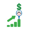 businessman character holding up dollar symbol on vector image vector image