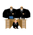 businessman scared under table of collector vector image vector image
