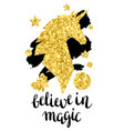 card with fantasy unicorn and gold glitter texture vector image