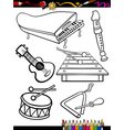 cartoon music instruments coloring page vector image vector image