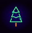 christmas tree neon sign vector image vector image