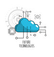 cloud data service with circuits icon vector image