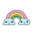 color kawaii cute rainbow and clouds weather vector image