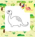 cute dino coloring page vector image vector image