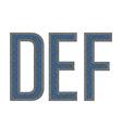 DEF letters denim vector image vector image