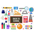 education flatlay colladge school knowledge icons vector image