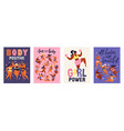 feminism body positive vertical cards with love to vector image vector image