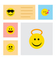 flat icon expression set of cross-eyed face angel vector image vector image
