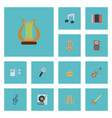 flat icons quaver acoustic tone symbol and other vector image vector image