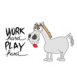 funny cartoon horse character with blank sign vector image