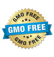 gmo free round isolated gold badge vector image vector image