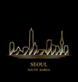 gold silhouette of seoul on black background vector image