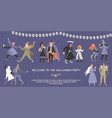 halloween banner with funny cartoon people vector image
