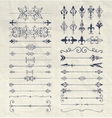 Hand Drawn Dividers Arrows Swirls on Notebook vector image vector image