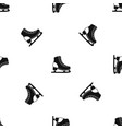 ice skate pattern seamless black vector image vector image