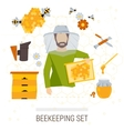 icons set of beekeeping products vector image
