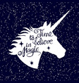 inspiring unicorn silhouette head on falling snow vector image vector image