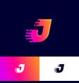 j letter winds movement dynamic logo velocity deli vector image vector image