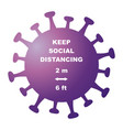 keep social distancing banner purple col vector image vector image