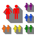 male and female sign set of red orange yellow vector image vector image