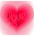 pink surround heart with word love vector image
