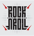 rock and roll - music poster with red lightnings vector image vector image