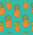 seamless hand drawn pattern with pineapple vector image vector image