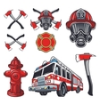 Set of designed firefighter elements vector image vector image