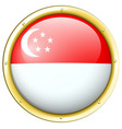 singapore flag on round button vector image vector image