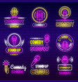 standup show retro microphone comedy club neon vector image vector image