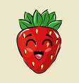 strawberry fruit comic characters vector image