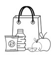 supermarket grocery products cartoon vector image