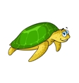 Swimming cartoon green turtle animal vector image vector image